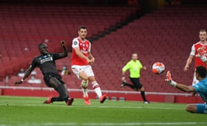 Mane scores the opener for Liverpool.