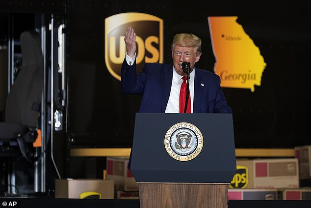 President Donald speaks during an event on American infrastructure at UPS Hapeville Airport Hub, Wednesday, July 15, 2020, in Atlanta. Trump's average lead over Biden in Georgia is just 3 percentage points in the conservative state