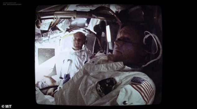 The video comes with a clear disclaimer stating 'what you are about to see is not real'. It lasts more than seven minutes and is a well-edited video tape which combines deep-learning, acting and genuine NASA footage (pictured, a shot used of genuine NASA footage from the Apollo 11 mission)