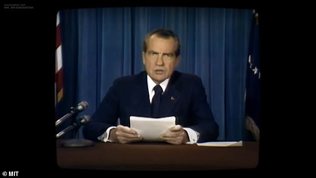 A scarily realistic deepfake video shows what it would have looked like if President Richard Nixon was forced to deliver a sombre address to the world had the Apollo 11 mission ended in disaster (pictured, the deepfake video as Nixon starts his speech)