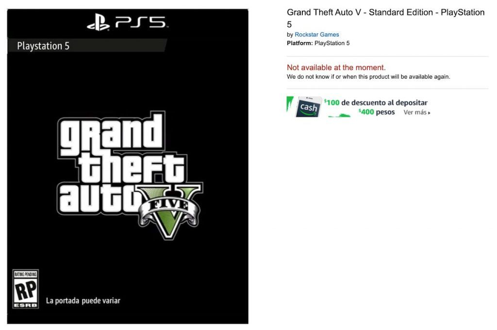 GTA 5 for PS5 listing on Amazon Mexico