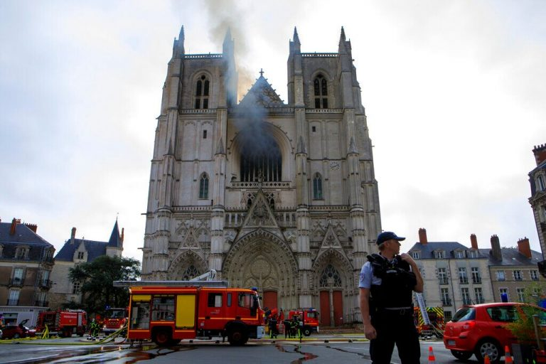 Fire rips through 15th-century French cathedral, police calling it a criminal act