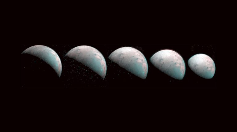 NASA publishes first images of Jovian moon's colorful North Pole