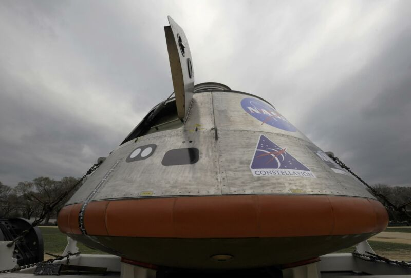A mock-up of the Orion Crew Module is seen on Monday, March 30, 2009 during a news conference on the National Mall in Washington.