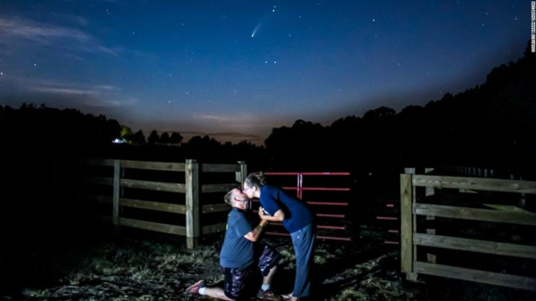 Two couples include the rare Neowise comet in their proposals for a once-in-a-lifetime cosmic engagement
